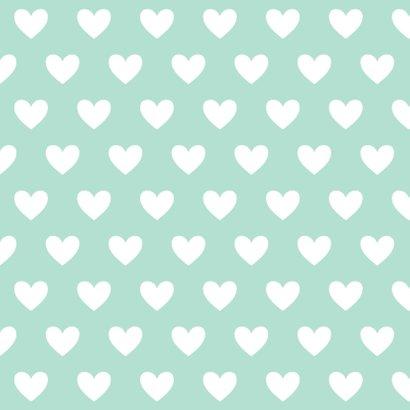 Valentijnskaart label hartjes mint 2
