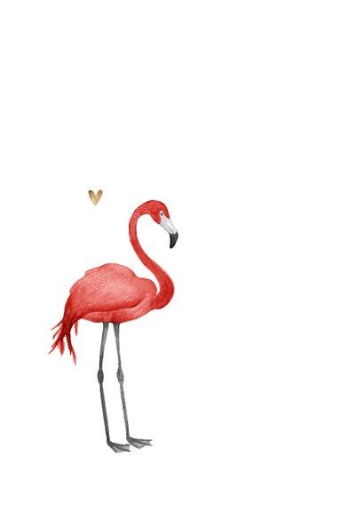 Valentijnskaart love you foto bloemenkrans flamingo 2