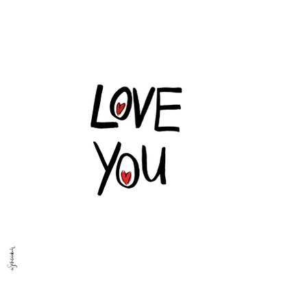 Valentijnskaart Love you hart met gezichtje 2