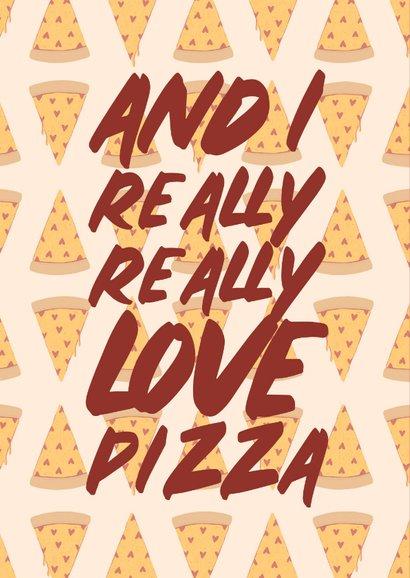 Valentijnskaart love you more than pizza met hartjes 2
