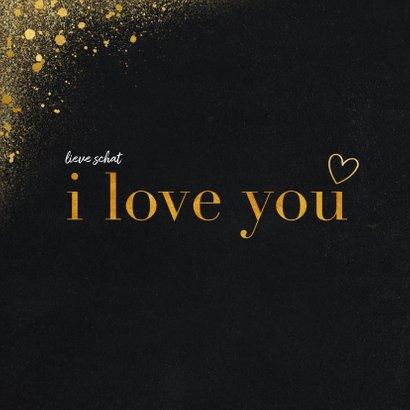 Valentijnskaart met foto en goudlook i love you 2