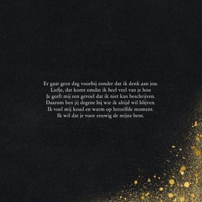 Valentijnskaart met foto en goudlook i love you 3