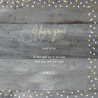 Valentijnskaart met foto op houtlook en gouden hartjes 3