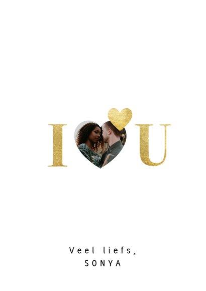 Valentijnskaart met gouden typografie en foto's 3