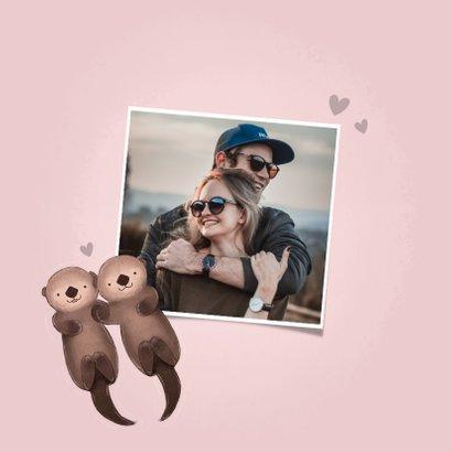 Valentijnskaart met illustratie otters en grappige tekst 2