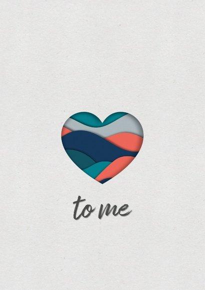 Valentijnskaart met paper cutout hart  in petrol en coral 2