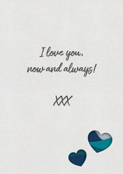 Valentijnskaart met paper cutout hart  in petrol en coral 3