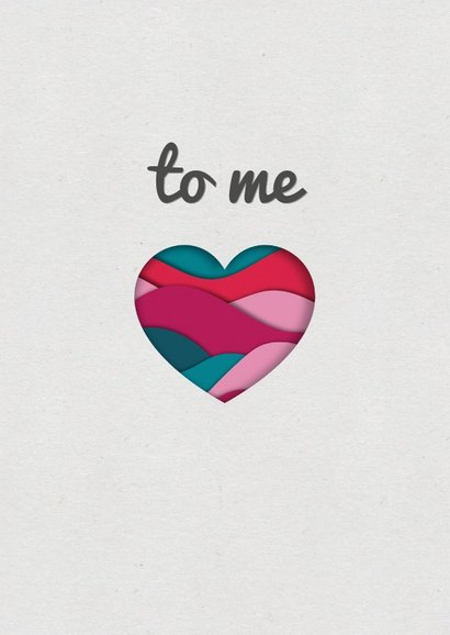 Valentijnskaart met paper cutout hart  in roze en petrol 2