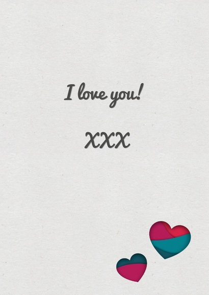 Valentijnskaart met paper cutout hart  in roze en petrol 3