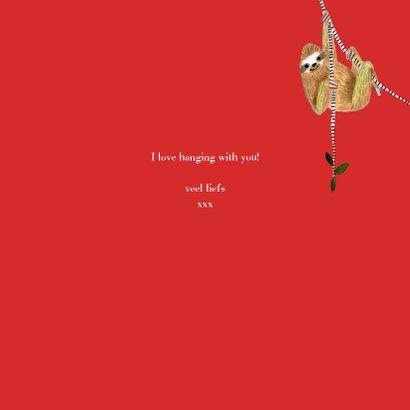 Valentijnskaart met trendy sloth en hartje 3