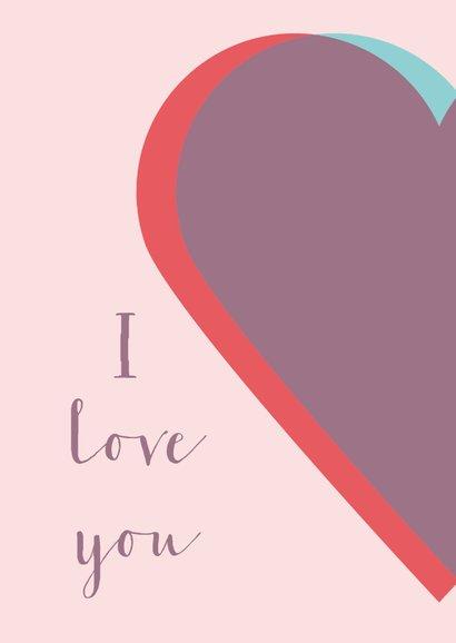 Valentijnskaart met twee harten 2