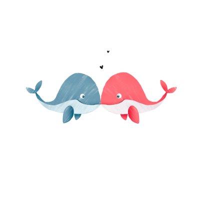 Valentijnskaart met walvisjes en hartjes 2