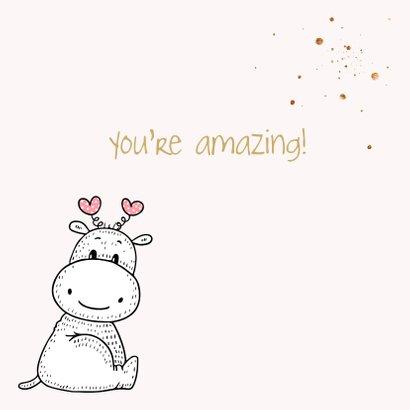 Valentijnskaart - Nijlpaard met roze hart 3