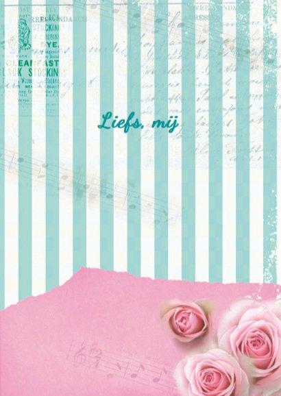 Valentijnskaart romantisch meisje rozen vintage  3