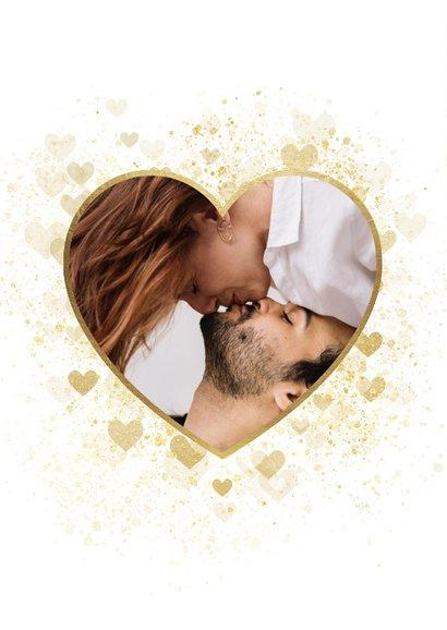 Valentijnskaart stijlvol gouden hart met foto 2