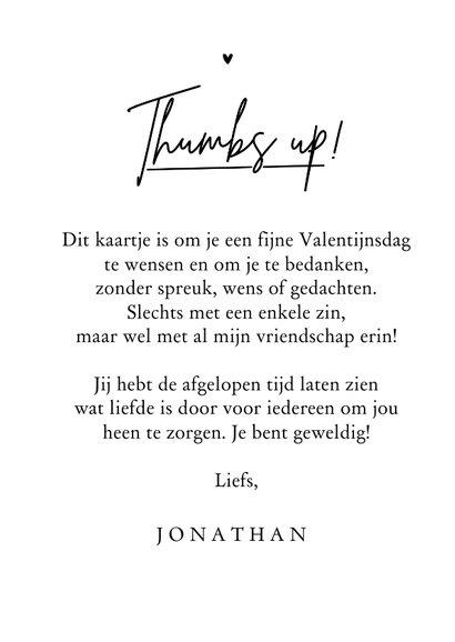 Valentijnskaart trots bedankt duimpje liefde thumbs up 3