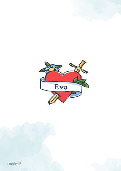 Valentijnskaart van man met tatoeage met naam 2