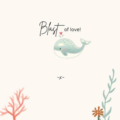 Valentijnskaart - Walvis mintgroen met koraal 3