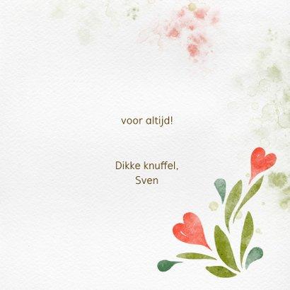 Valentijnskaart waterverf, hartjes tussen het groen 3