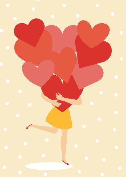 Valentijnskaartje met hartjes en stipjes 2