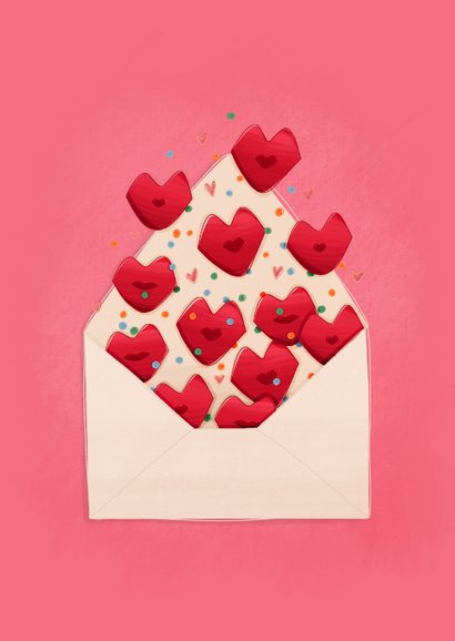 Valentijnskaartje valentijnskusjes uit een envelop 2