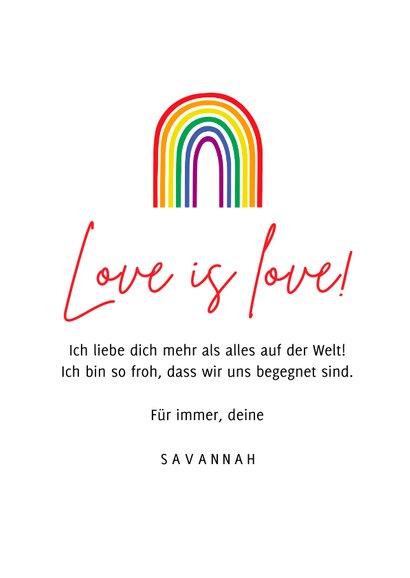 Valentinskarte Regenbogen 'You colour my world' 3