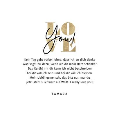 Valentinskarte Typografie 'Love You' 3