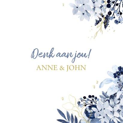 Veel liefs kaart delftsblauw bloemen 3