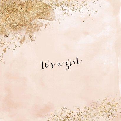 Velvet look roze geboortekaartje meisje watercolor goudlook 2