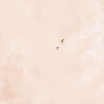 Velvet look roze geboortekaartje meisje watercolor goudlook Achterkant