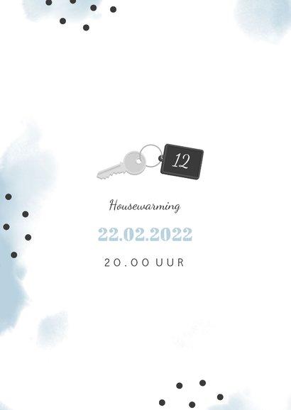 Verhuiskaart 2 foto's sleutel met label new home 2