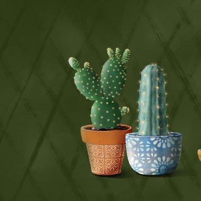 Verhuiskaart donkergroen met cactussen en succulent 2