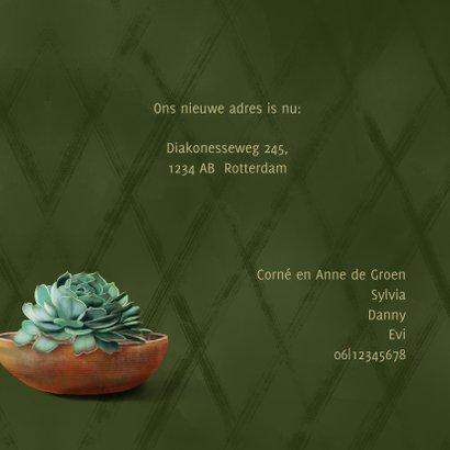 Verhuiskaart donkergroen met cactussen en succulent 3