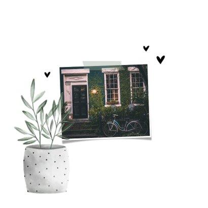 Verhuiskaart foto new home met hartjes en planten 2