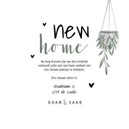 Verhuiskaart foto new home met hartjes en planten 3