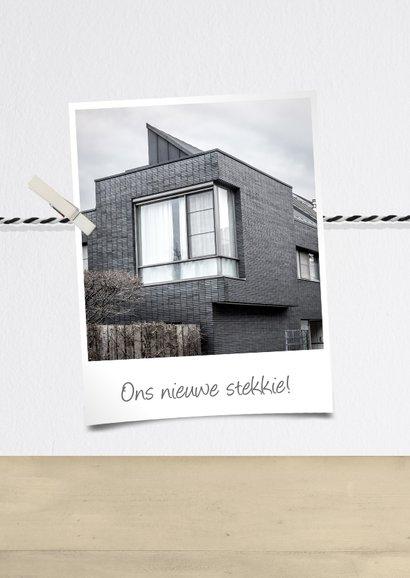Verhuiskaart fotolijst houten huisje met fotocollage 2