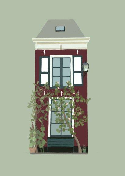 Verhuiskaart groen huis met luiken 2