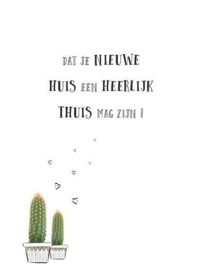 Verhuiskaart happy new home met cactus plant 2