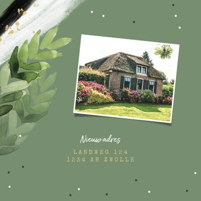 Verhuiskaart hip botanisch groen bladeren confetti foto 2