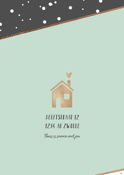 Verhuiskaart hip stijlvol stipjes goud huisje hartje 2