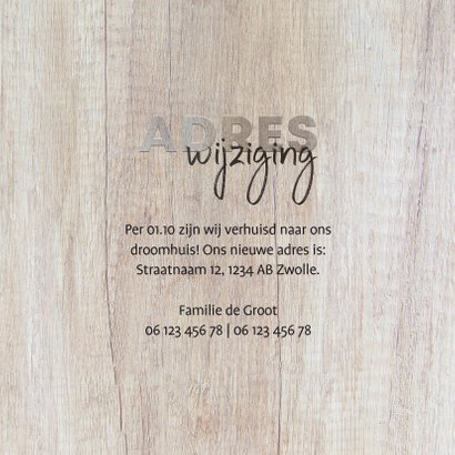Verhuiskaart hout adreswijziging met foto's 3