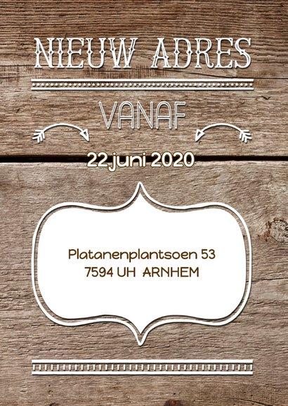 Verhuiskaart hout handlettering stoer 2