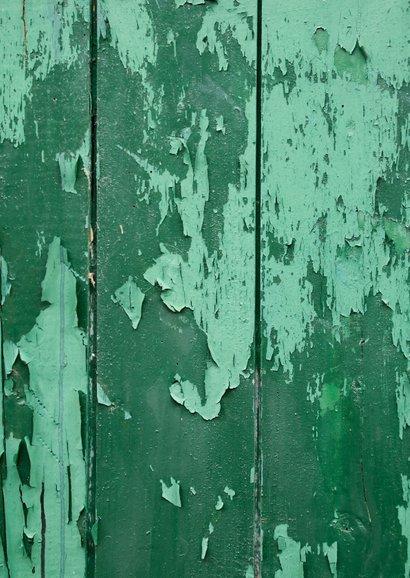 Verhuiskaart huis hout met oude groene verf, foto en hartje Achterkant