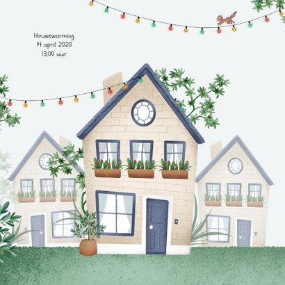 Verhuiskaart huis illustratie feest dieren planten 2