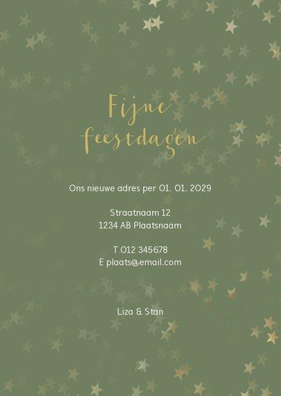 Verhuiskaart kerst groen staand met huis - Een gouden kerst 3