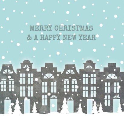Verhuiskaart kerst huisjes sneeuw foto 2
