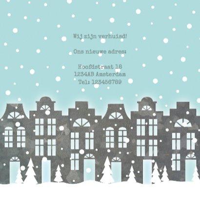 Verhuiskaart kerst huisjes sneeuw foto 3