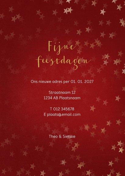 Verhuiskaart kerst staand met huisje goud - Een gouden kerst 3