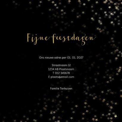 Verhuiskaart kerst zwart huis van goud - Een gouden kerst 3