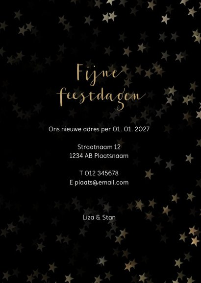 Verhuiskaart kerst zwart staand met huis - Een gouden kerst 3